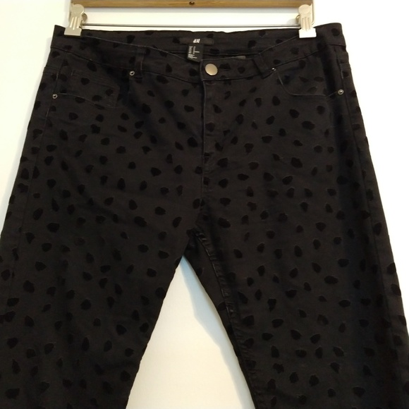 H&M Denim - H&M Black Jeans Spotted Velveteen Patches 12
